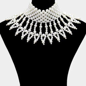 White Pearl Armor Bib Choker Necklace B